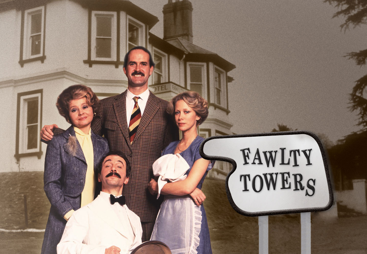 Cast of Fawlty Towers - Copyright @BBC