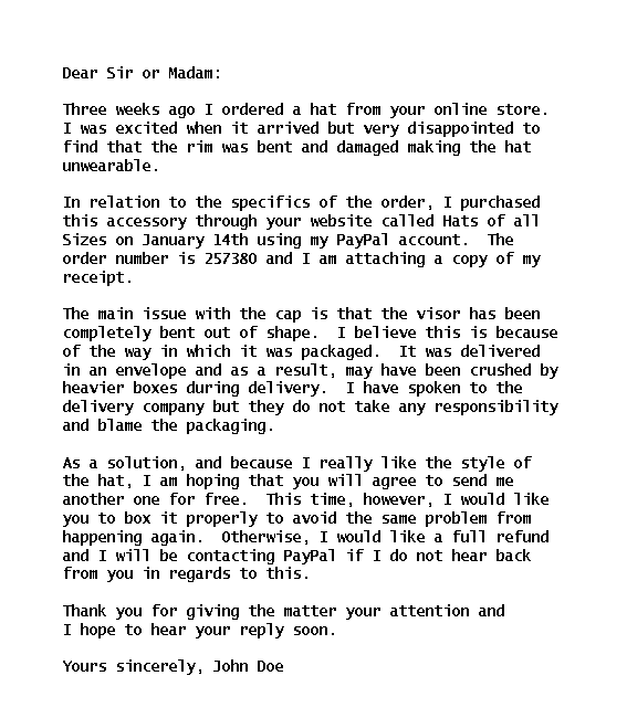 What Can The Writer Do To Improve The Format And Structure Of This Letter Of Complaint? from ieltscanadatest.com