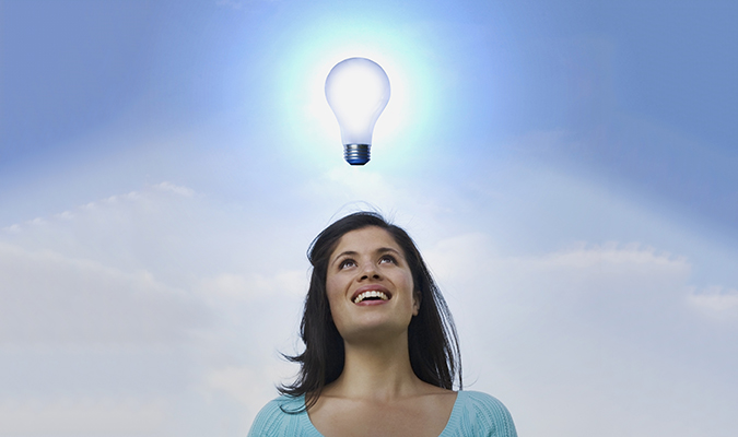 Lady with a lightbulb over her head