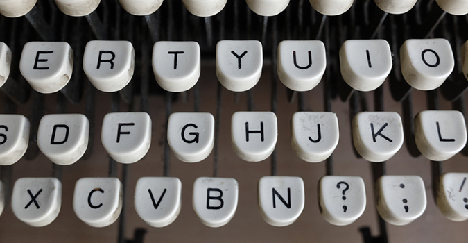 High Angle View Of Typewriter Keys