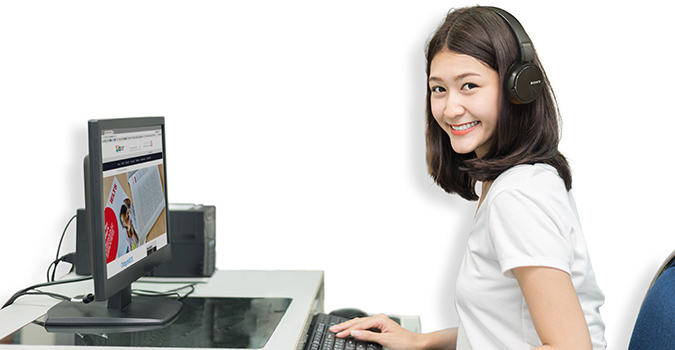 female looking at computer